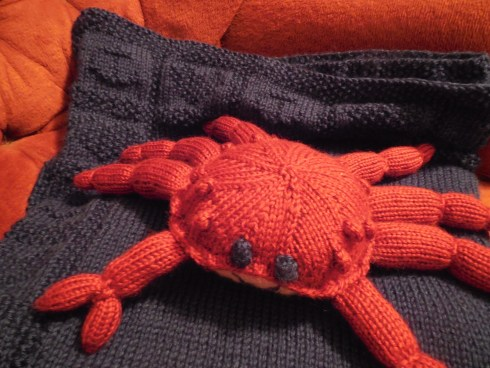 The crab was much more enjoyable to knit than the blanket!