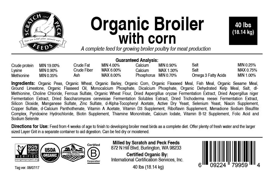 Organic Broiler With Corn Scratch And Peck Feeds Organic Non