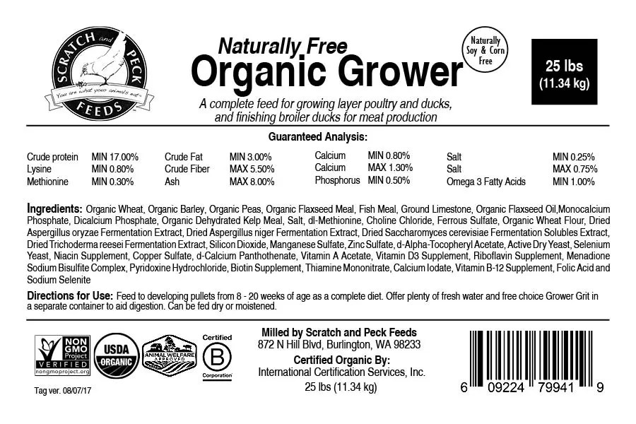 Scratch and Peck Feeds Naturally Free Organic Grower