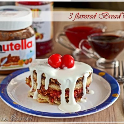 3 Flavored Bread Pudding: Nutella, Strawberry-Jam & Cottage Cheese