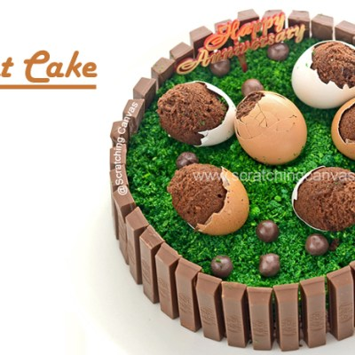 Kitkat Birthday Cake with Egg shell Brownies and Happy Birthday to Scratching Canvas