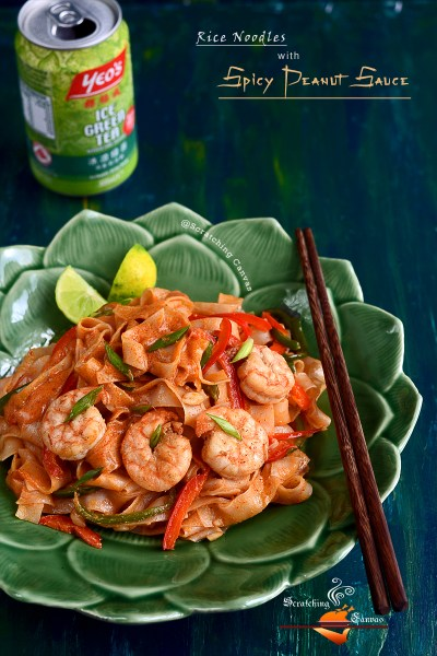 Peanut Sauce Prawn Noodles | Asian Rice Noodles in Peanut Butter Sauce