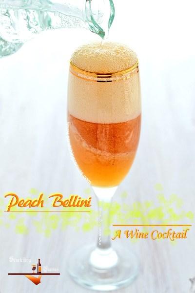 Fresh Peach Bellini Recipe | Wine Cocktail | Homemade Cocktail Recipes