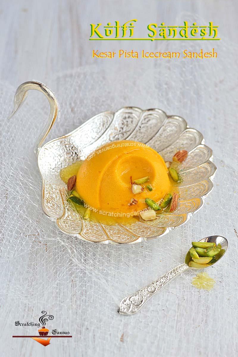 Microwave Ice cream sandesh Recipe