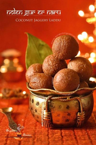 Narkel Naru | Nolen Gurer Naru | Coconut Laddu | Coconut Jaggery Truffles