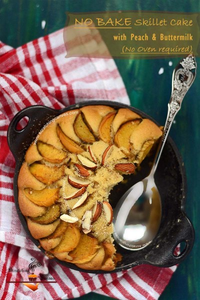 No Bake Skillet Cake | Peach Buttermilk Cake | Gas top Cake | Stove Top Cake