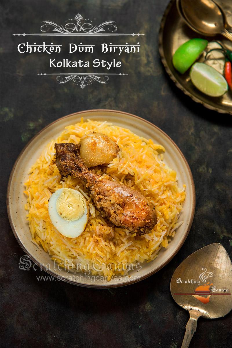 Kolkata Chicken Biryani Bengali Style Biryani Murgh Dum Biryani Scratching Canvas