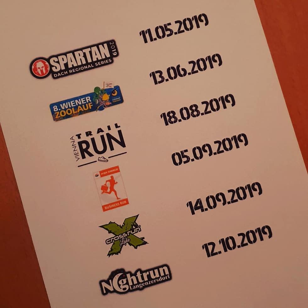 #laufkalender2019 steht! 💪🏼#running #runnerdrun #instarunning #spartanrace #viennazoorun #viennatrailrun #wienenergiebusinessrun #xcrossrun #lenightrun #laufen #instarun