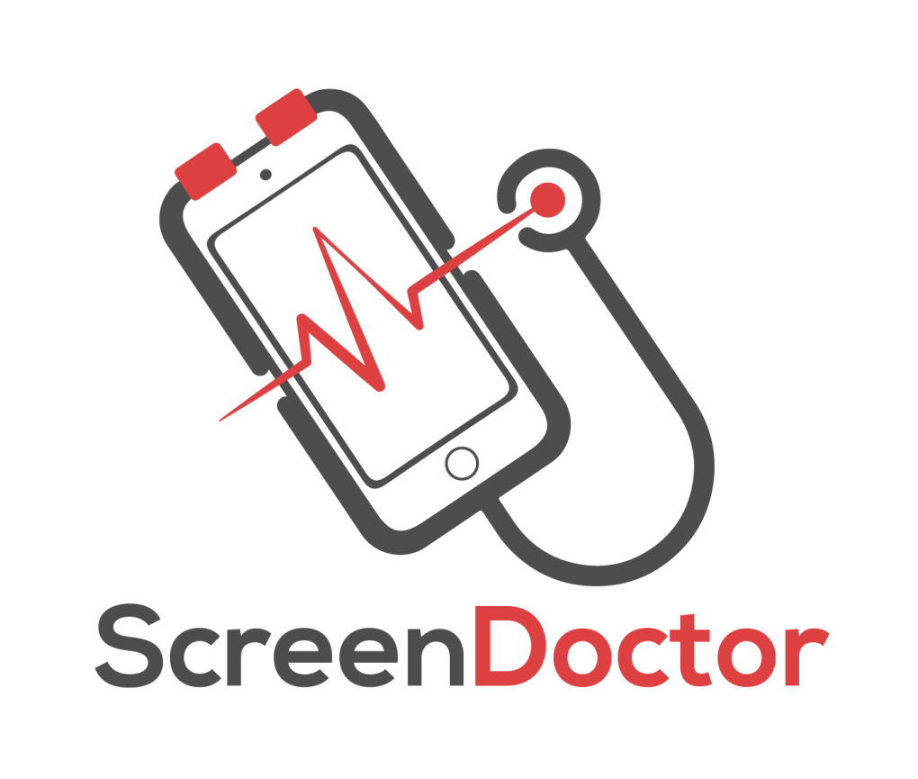 Screen Doctor Logo - Black & red on transparent background