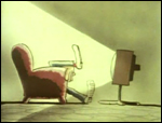 Part of the Why Don't You opening sequence, foot is about to meet TV screen