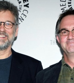 Executive Producers Hart Hanson (L) and Stephen Nathan (R) of BONES (Photo © Getty Images)