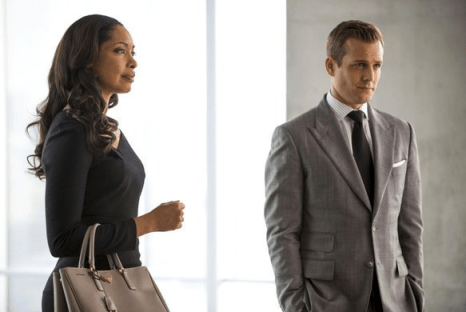 Gina Torres as Jessica Pearson and Gabriel Macht as Harvey Specter. Image © USA
