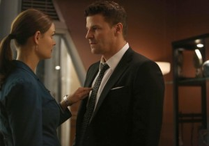 "Brennan (Emily Deschanel, L) worries about Booth (David Boreanaz, R) when they investigate the murders of several FBI agents with whom Booth was close in the ""The Secret in the Siege"" season finale episode of BONES airing Monday, April 29 (8:00-9:00 PM ET/PT) on FOX. ©2013 Fox Broadcasting Co. Cr: Beth Dubber/FOX"