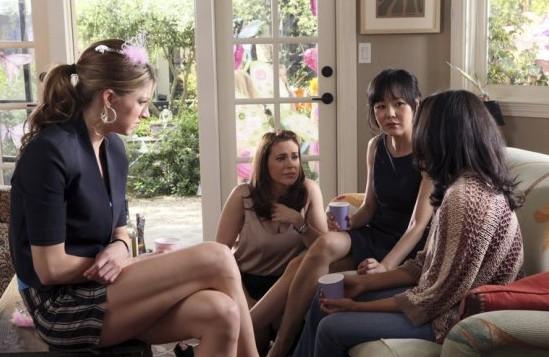 Alyssa Milano as Savannah, Yunjin Kim as Karen, Rochelle Aytes as April, Jes Macallan as Josslyn -- Photo: Danny Feld/ABC -- © 2013 ABC