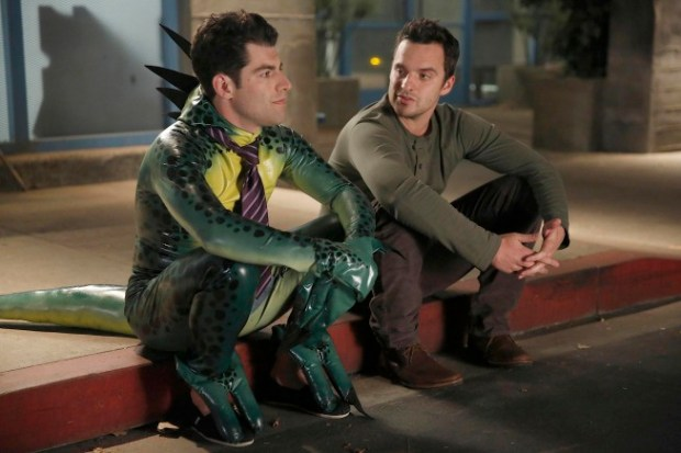 Nick (Jake Johnson, R) and Schmidt (Max Greenfield, L) have a heart-to-heart discussion. Co.  Cr:  Greg Gayne/FOX
