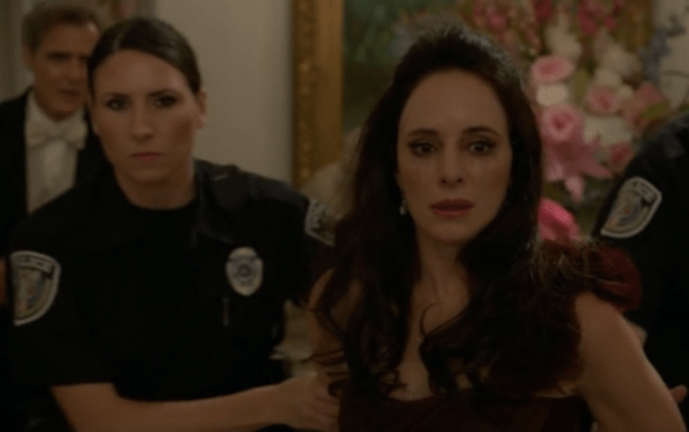 Victoria takes the fall for Emily Throne's murder. Except not. Pictured: Madeleine Stowe as Victoria Grayson