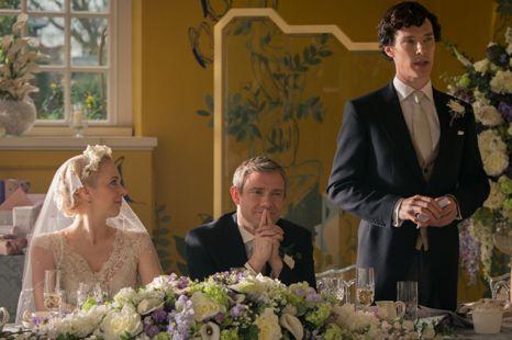 (L-R) Amanda Abbington as Mary Watson, Martin Freeman as John Watson, Benedict Cumberbatch as Sherlock Holmes. Photo credit: BBC