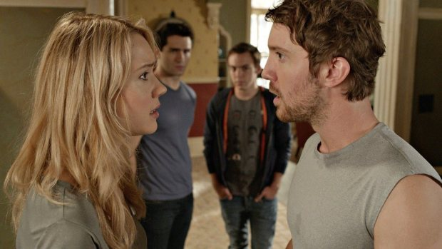 Pictured: (l-r) Kristen Hager as Nora, Sam Witwer as Aidan, Sam Huntington as Josh -- (Photo by: Syfy).