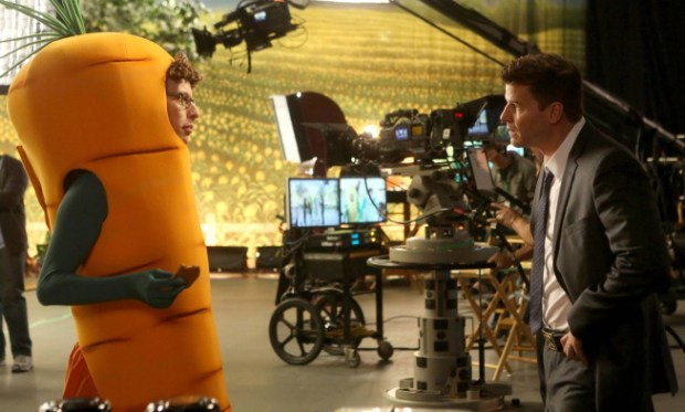 Booth (David Boreanaz, R) questions children's TV show character Carrot Bill (guest star Tommy Munson, L). Co.  Cr:  Patrick McElhenney/FOX
