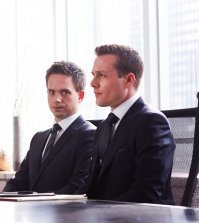 Pictured: L-R Patrick J. Adams and Gabriel Macht of USA Network's SUITS. (Photo by: Shane Mahood/USA Network)