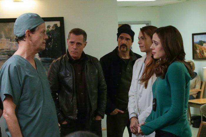 Pictured: (l-r) Dylan Baker as Arata, Jason Beghe as Hank Voight, Elias Koteas as Alvin Olinsky, Marina Squerciati as Kim Burgess -- (Photo by: Elizabeth Morris/NBC)