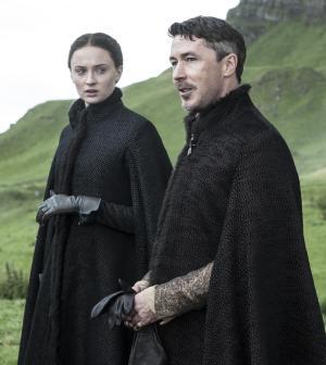 Sophie turner as Sansa Stark and Aidan Gillen as Littlefinger. Image © HBO