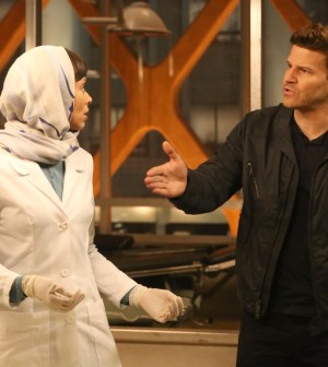 BONES:  Booth (David Boreanaz, R) and Cam (Tamara Taylor, L) are forced to help a member of the Iranian parliament solve a murder | Co.  Cr:  Patrick McElhenney/FOX