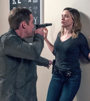 Pictured: (l-r) Patrick Gough as Aaron Jones, Sophia Bush as Erin Lindsay -- (Photo by: Matt Dinerstein/NBC)