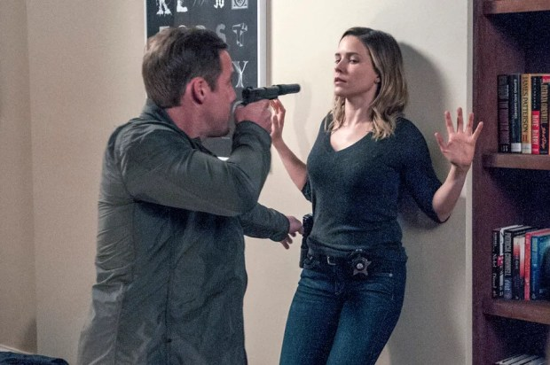 Pictured: (l-r) Patrick Gough as Aaron Jones, Sophia Bush as Erin Lindsay -- (Photo by: Matt Dinerstein/NBC)
