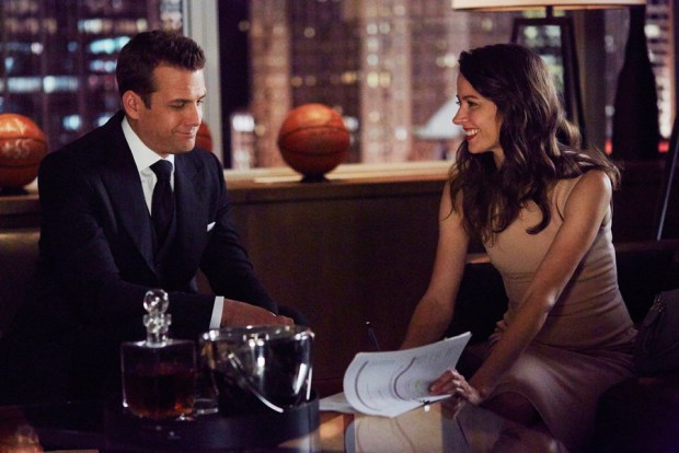 "SUITS -- ""No Puedo Hacerlo"" Episode 504 -- Pictured: (l-r) Gabriel Macht as Harvey Specter, Amy Acker as Esther -- (Photo by: Shane Mahood/USA Network)"