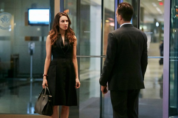 """SUITS -- """"Mea Culpa"""" Episode 508 -- Pictured: Troian Bellisario as Claire -- (Photo by: Ian Watson/USA Network)"""