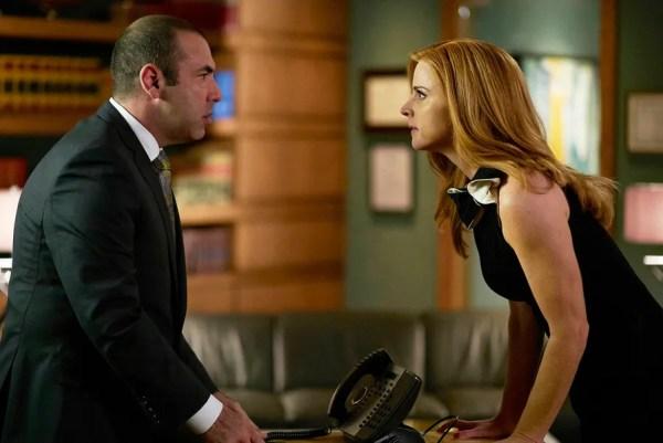 "SUITS -- ""Mea Culpa"" Episode 508 -- Pictured: (l-r) Rick Hoffman as Louis Litt, Sarah Rafferty as Donna Paulsen -- (Photo by: Shane Mahood/USA Network)"