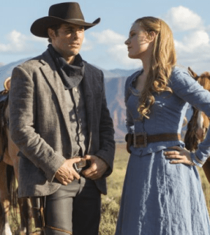 James Marsden and Evan Rachel Wood in Westworld (2016)  Photo by JOHN P JOHNSON - © 2015 HBO