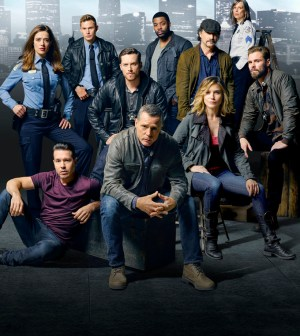 CHICAGO P.D. -- Season: 3 -- Pictured: (l-r) top row; Marina Squerciati as Officer Kim Burgess, Brian Geraghty as Officer Sean Roman, Jesse Lee Soffer as Detective Jay Halstead, LaRoyce Hawkins as Detective Kevin Atwater, Elias Koteas as Detective Alvin Olinsky, Amy Morton as Desk Sgt. Trudy Platt, Patrick John Flueger as Officer Adam Ruzek bottom row; Jon Seda as Detective Antonio Dawson, Jason Beghe as Sergeant Hank Voight, Sophia Bush as Detective Erin Lindsay -- (Photo by: Mark Seliger/NBC)