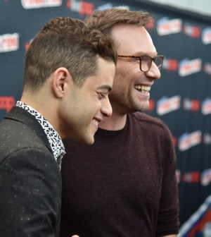 """NEW YORK COMIC CON -- """"Colony and Mr. Robot Press Room"""" -- Pictured: (l-r) Rami Malek, Christian Slater -- (Photo by: Mike Coppola/USA)"""