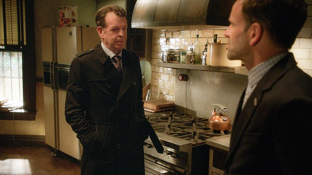 Pictured (L-R) John Noble as Mr. Morland Holmes and Jonny Lee Miller as Sherlock Holmes Photo: Best Possible Screen grab/ CBS