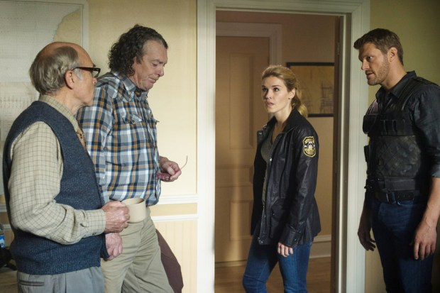 Pictured: (l-r) John Dunsworth as Dave Teagues, Richard Donat as Vince Teagues, Emily Rose as Audrey Parker, Adam Copeland as Dwight Hendrickson -- (Photo by: Mike Tompkins/Syfy)