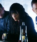 Pictured: (l-r) Luke Macfarlane as D'Avin, Hannah John-Kamen as Dutch, Aaron Ashmore as John -- (Photo by: Ian Watson/Syfy/Killjoys II Productions Limited)