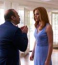 Pictured: (l-r) Rick Hoffman as Louis Litt, Sarah Rafferty as Donna Paulsen -- (Photo by: Shane Mahood/USA Network)