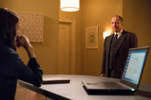 "THE BLACKLIST -- ""Miles McGrath #65"" Episode 403 -- Pictured: (l-r) Megan Boone as Elizabeth Keen, James Spader as Raymond ""Red"" Reddington -- (Photo By: David Giesbrecht/NBC)"