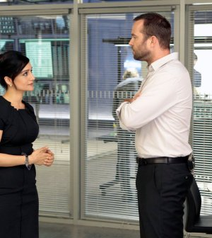 Pictured: (l-r) Archie Panjabi as Nas Kamal, Sullivan Stapleton as Kurt Weller -- (Photo by: Giovanni Ruffino/NBC)