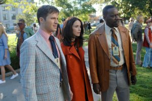 Pictured: (l-r) Matt Lanter as Wyatt Logan, Abigail Spencer as Lucy Preston, Malcolm Barrett as Rufus Carlin -- (Photo by: Sergei Bachlakov/NBC)