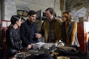 "GRIMM -- ""Fugitive"" Episode 601 -- Pictured: (l-r) Bitsie Tulloch as Juliette Silverton, David Giuntoli as Nick Burkhardt, Silas Weir Mitchell as Monroe, Bree Turner as Rosalee -- (Photo by: Allyson Riggs/NBC)"