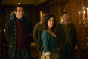"TIMELESS -- ""The Capture of Benedict Arnold"" Episode 109 -- Pictured: (l-r) Goran Visnjic as Garcia Flynn, Abigail Spencer as Lucy Preston, Matt Lanter as Wyatt Logan -- (Photo by: Sergei Bachlakov/NBC)"