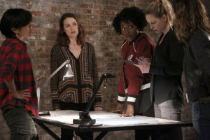 Pictured: (l-r) Hettienne Park as Sasha, Megan Boone as Elizabeth Keen, Ito Aghayere as Jessica, Anastasia Griffith as Emma, Jill Hennessy as Margot -- (Photo by: Will Hart/NBC)