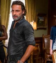 Danai Gurira as Michonne, Andrew Lincoln as Rick Grimes, Chandler Riggs as Carl Grimes- The Walking Dead _ Season 7, Episode 9 - Photo Credit: Gene Page/AMC