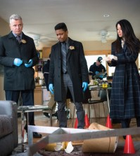 """Elementary -- """"High Heat"""" -- Pictured (L-R)   Aidan Quinn as  Captain Thomas Gregson,  Jon Michael Hill  as Detective Marcus Bell and Lucy Liu  as Joan Watson, Photo: Michael Parmelee/CBS"""