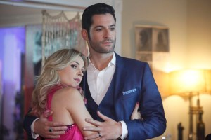 """LUCIFER: L-R: Guest star Lindsey Gort and Tom Ellis in the """"Candy Morningstar"""" spring premiere episode of LUCIFER   Cr: FOX"""