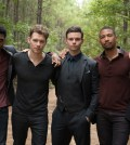"""The Originals -- """"Keepers Of The House"""" Pictured (L-R): Yusuf Gatewood as Vincent, Joseph Morgan as Klaus, Daniel Gillies as Elijah, Charles Michael Davis as Marcel and Phoebe Tonkin as Hayley -- Photo: Annette Brown/The CW -- © 2017 The CW Network, LLC. All rights reserved."""