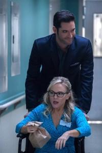 "LUCIFER: L-R: Rachael Harris and Tom Ellis in the ""God Johnson"" episode of LUCIFER Cr: Jack Rowand/FOX"